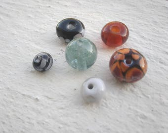 Set of beads - gray, black, Brown and speckled