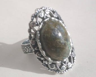 "Silver ring lace ""Malachite"""