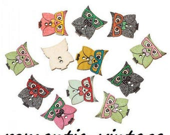 10 buttons owls decorated mix colors thin wood