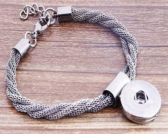 Beautiful bracelet adjustable color black gun holder for snap 18 / * 20mm, twisted chains