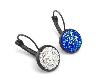 supports, 1pair earrings Leverback cabochon 12mm black color