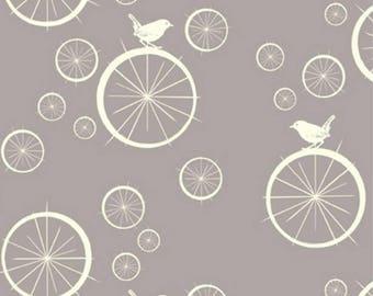 Fabric organic · Cotton Poplin. Birdie spokes gray · 20 cm. GOTS certified