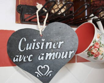 """Slate """"Cooking with love"""" heart"""