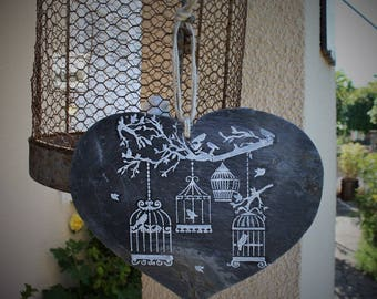Bird cages pattern slate heart