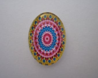25 X 18 mm with image psykiadelique colored oval glass cabochon