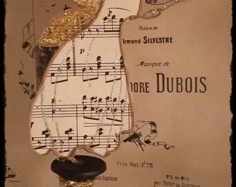 Fée de Noel en papier partition de musique  et fil de fer kraft