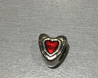 """""""heart"""" red enamel bead"""
