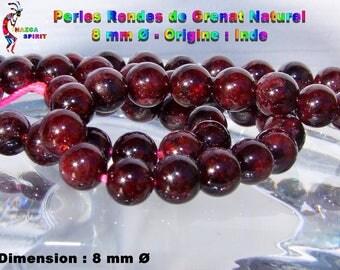 Fine natural 7.5 Garnet round beads 6 mm to 8 mm in diameter