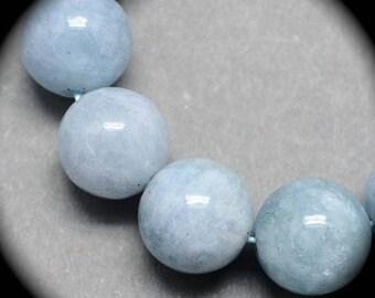 10perles semi precious blue aquamarine natural 6mm round