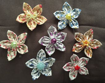 7 flowers kanzashi fabric flower, hand made, to customize your creations, embellishment purse, hairclip, brooch, scrapbooking, flower jewelry