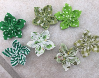 7 mini flowers kanzashi, 35mm, hand made, to customize your creations, embellishment purse, hairclip, brooch, scrapbooking, flower jewelry