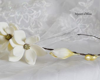 Wreath with magnolias flowers