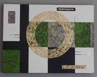 """Abstract acrylic painting """"circle gold-lime"""" 61 x 46 3D"""
