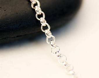 Set of 5 meters of chain round silver 2, 5 x 2, 5mm