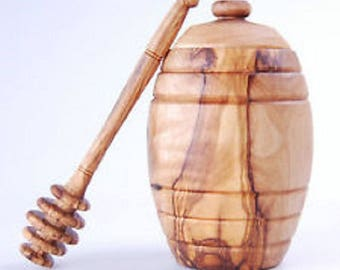 Honey pot with dripper made with olive wood