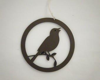 Bird on branch, mini round ornament