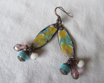 Feather dangle earrings copper enamel and glass in turquoise, purple, yellow and white
