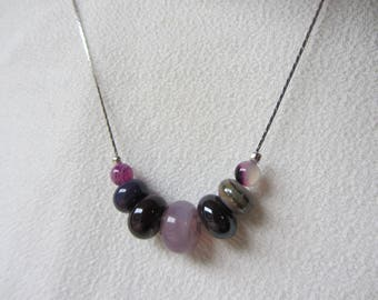 Crew neck chain serpentine silver rings and pearls handmade glass and fine stone, purple / violet