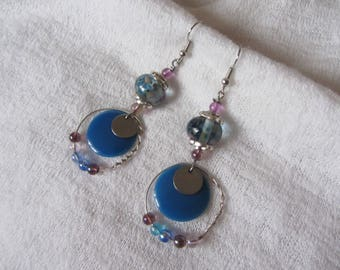 Ethnic dangle earrings with silver metal ring with small beads, handmade, blue and purple glass rondelle and round blue sequin
