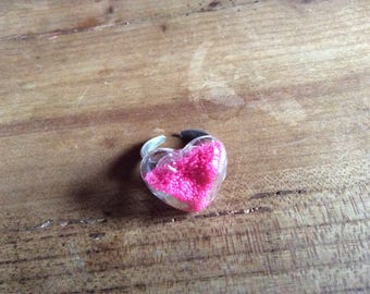 Bubble glass heart wire ring neon pink beads