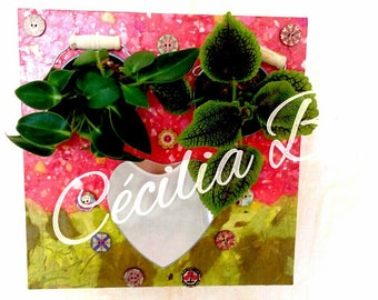 """Floral Tin decorative theme of spring """"feel emotions"""" - two plants, heart mirror, two key hooks"""