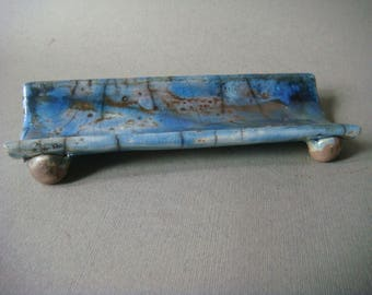 Blue raku ceramic spoon rest