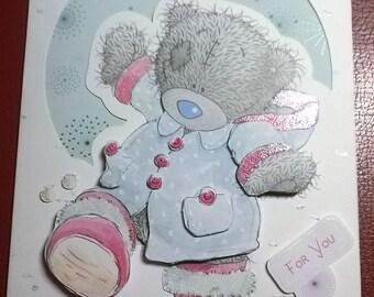 Maxi iridescent 3D theme card a teddy bear in the snow