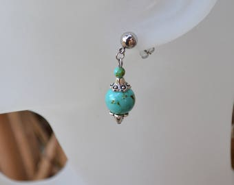 Stud Earrings in stainless steel and turquoise beads / stone of blessing