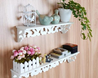 Pair of Ornate Patterned White Wall Shelves