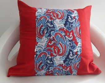30 x 30 cm red with Arabesque Red, white and blue Cushion cover