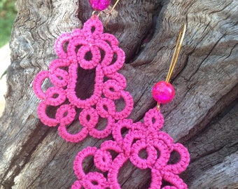 Bright neon beads pink cotton tatted lace earrings