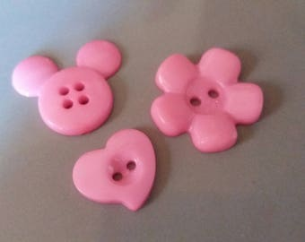 trio of pretty pink buttons, sewing, scrapbooking.