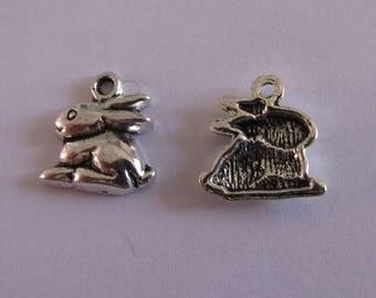 1 silver rabbit charm 14mmx13mm