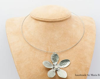 Handmade Flower PENDANT from alpaca decorated with beads