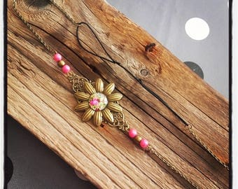 Head Band head bronze flower jewelry / pearls and pink flower cabochon