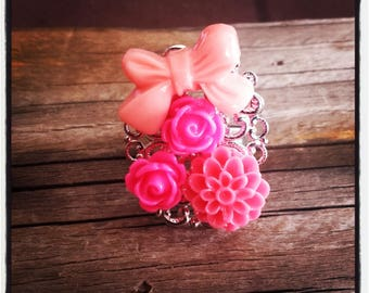 Rose flower cabochon silver ring