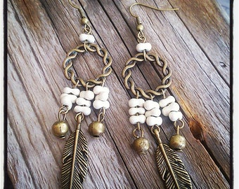 Earrings bronze twisted ring and ecru beads