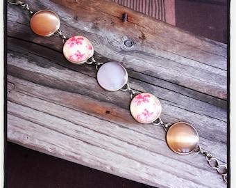 bronze metal cabochons 6 pink and orange bracelet