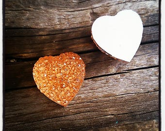set of 2 cabochon orange Rhinestone Heart