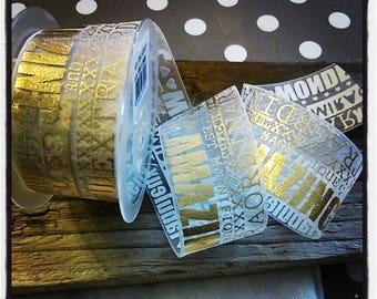 Gold and white 38 mm organza Ribbon