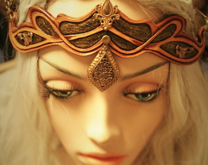 Tiara DIAdem magical ancient medieval fantasy leather tooled