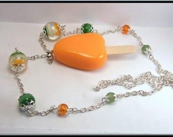 Necklace Fimo orange sherbet ice stick, glass bead.
