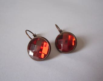Cabochon swarovski red magma copper Leverback Earrings