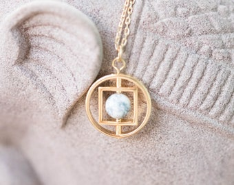 Gold Colored (Brass) Necklace with White Marble Round Stone in Frame