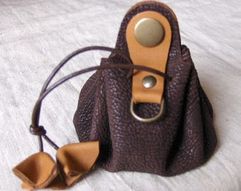 Coin purse is leather camel Brown handmade