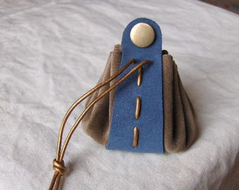 Coin purse is leather taupe blue handmade