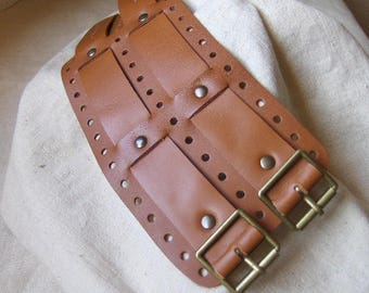 Handmade bracelet strength perforated leather