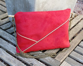 Pouch, red suede shoulder bag, graphic line gold