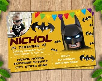 Batman Lego Invitation, Lego Invitation, Lego Batman Invitations, Lego Batman Birthday, Lego Batman Party, Lego Batman Birthday
