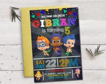 Bubble Guppies invitation, Bubble Guppies birthday, Bubble Guppies party, Bubble Guppies printable, Bubble Guppies invitation for boys